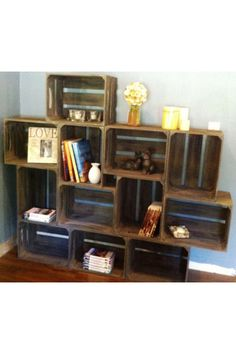 Small wooden crate bookcase, rustic apple crates, # bookshelf … - Use Large Wooden Crates, Diy Wooden Crate, Small Wooden Boxes, Wood Crates, Crate Bookcase, Crate Shelves, Bookshelf Wall, Nursery Bookshelf, Apple Crates