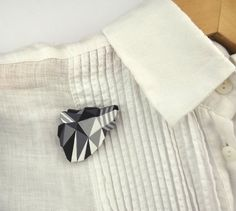 Geometric Wolf Brooch Black and White by SketchInc on Etsy