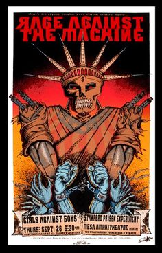 Buy original Rage Against the Machine Original Rock Concert Poster US Silkscreen Print designed by Emek in This poster is for the show at the Mesa Amphitheatre in Mesa, Arizona on THursday, September with Girls Against Boys and Stanford Prison Experiment Rage Against The Machine, Tour Posters, Band Posters, Music Posters, Music Artwork, Art Music, The Machine Band, Concert Rock, Pop Art