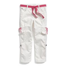 Tommy Hilfiger big girls' pant. Feminine details make for precious cargo worthy of import into her wardrobe. Inside, an adjustable waistband for a perfect fit from the start with room to grow.• 100% cotton• Button tab hems, removable belt, tiny Tommy flag on hip.• Machine washable.• Imported.