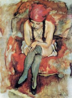 Claudine Resting, 1913 by Jules Pascin. Expressionism. nude painting (nu)