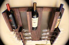 Rustic Dark Cherry Stained Wall Mounted Wine por TheKnottyShelf