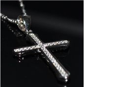 Platinum 925 Sterling Silver Cross Charm Necklace 925 by KANTILAKI