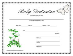 Amazing Printable Baby Dedication Certificate