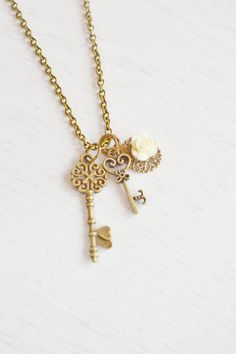 Key Necklace,Heart and Key Necklace,Crown Key Necklace,Skeleton Key Necklace,Love,Necklace, Key to Heart,White Rose Necklace,BFF Gift