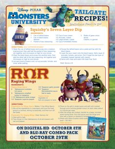 #MonstersUniversity Tailgate Recipe!