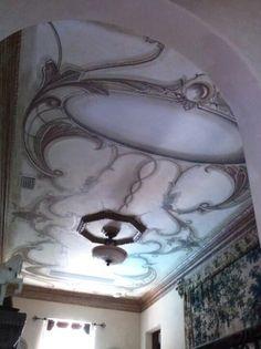 Second floor landing ornamental ceiling painted by Donzine. Second Floor, Ceilings, Landing, Eye Candy, Flooring, Decorating, Ornaments, Decor, Ceiling