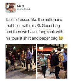 my mind is taehyung but my wallet is jungkook Bts Namjoon, Bts Jungkook, Hoseok, Seokjin, Kim Taehyung Funny, Taekook, Bts Funny, Bts Memes Hilarious, K Pop