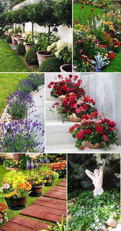 Front Yard Garden Design, Garden Yard Ideas, Diy Garden Projects, Lawn And Garden, Garden Whimsy, Garden Deco, Front Yard Flowers, Beautiful Home Gardens, Bottle Garden