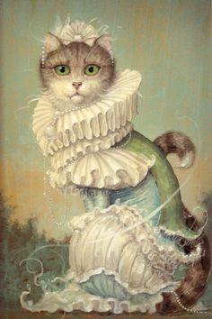 Anthropomorphic by Daniel Merriam, pretty pastel cat lady