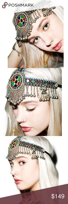 The Third Eye Crown Bell Headpiece Get into a perfect state of mind. Find yer center with this whimsy piece of headgear, featuring an adjustable band around the sides, and over the top, decorated with a colorful collection of beads and gems. With a row of baubles and bells that frame yer face, this will be the crowning jewel for any festive occasion. No trades. Dollskill spell and the gypsy little black diamond Accessories