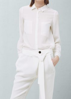 Belt baggy trousers - Trousers for Woman | MANGO
