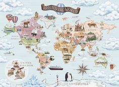 illustrated world maps