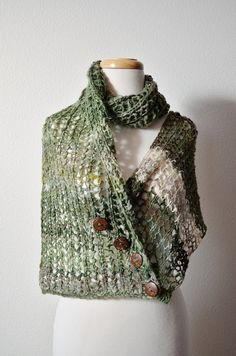 Hand Knit Scarf  FAUN Forest Cowl/Chunky Lace Knit by awkward
