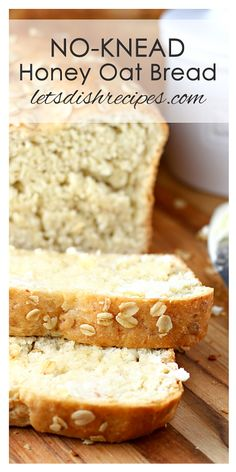 This easy yeast bread is sweetened with honey and loaded with oats. Which makes this no-knead honey oat bread perfect for toast, sandwiches and snacking. No-Knead Honey Oat Bread - No-Knead Honey Oat Bread Recipe Oat Bread Recipe, Honey Oat Bread, Oatmeal Bread, Simple Bread Recipe, Gluten Free Oat Bread, Bread Machine Recipes, Easy Bread Recipes, Baking Recipes, Healthy Sandwich Bread Recipe