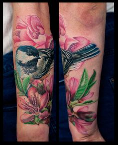 Chickadee tattoo. Replace the lilies with blue anenome hepaticas.