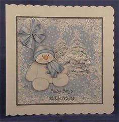 Blue and White Snowman 1st Christmas (8 x 8 decoupaged card)