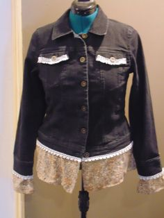 Refashioned/Upcycled Black Jean Jacket, size 8 by RefashionedApparel on Etsy