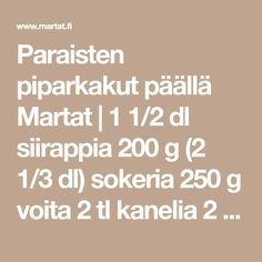 Paraisten piparkakut päällä Martat   1 1/2 dl siirappia 200 g (2 1/3 dl) sokeria 250 g voita 2 tl kanelia 2 tl inkivääriä 2 tl neilikkaa 1 rkl… Martini, Math Equations, Martinis