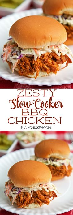 Zesty Slow Cooker BBQ Chicken -only 5 simple ingredients! You probably already have them in the house! Chicken, BBQ sauce, Italian dressing, brown sugar and Worcestershire sauce. I love all of these ingredients and they taste great combined into one easy dish! Feel free to use frozen chicken breasts in this dish. Make a ton, so it's great for a potluck! Serve chicken on buns, nachos, baked potato or on top of a salad. Everyone gobbled this up!