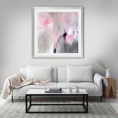 A vision of gentle pinks - a feminine, loving and compassionate colour, softened with the purity and openness of white. This painting brings a breath of calm and relaxation into your space to soothe with its quiet and tranquil energy.  This print was recently featured on the fabulous blog, a Pair and a Spare and selected by the amazing DIY fashionista Geneva Vanderzeil. ~~~~~~~~~~~~~~~~~~~~~~~~~~~~  TITLE: Largo MEDIUM: Giclée print SIZES: Sizes shown in drop down list are the actual image…