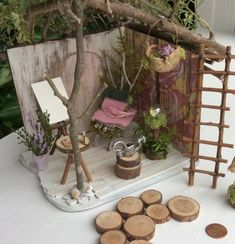 Fairy House by Olive, Fairy Cottage, Miniature Cottage ~ Fairy Bed and Fairy Painter's Easel, Faerie, Fae House Fairy Houses Kids, Fairy Garden Houses, Gnome Garden, Fairies Garden, Fairy Doors On Trees, Mini Fairy Garden, Fairy Gardening, Organic Gardening, Fairy Garden Furniture