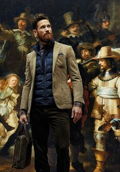 ♂ Masculine and elegance man's fashion photography with oil painting background gentleman style suit