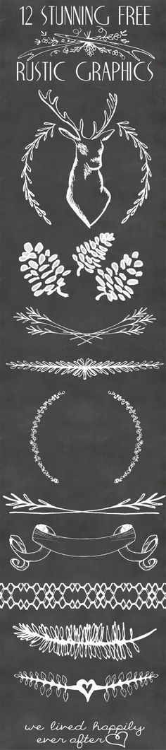 12 Stunning Free Rustic Graphics- These would be great to use for Chalkboard Doodles // Design, Art, Crafts, DIY // We Lived Happily Ever After Noel Christmas, Rustic Christmas, Christmas Crafts, Christmas Chalkboard, Christmas Ideas, Chalk It Up, Chalk Art, Do It Yourself Inspiration, Web Design
