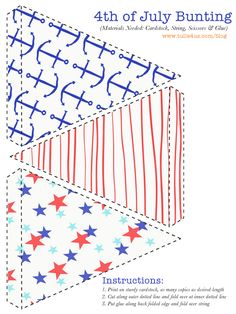 Free Printable- 4th of July Bunting. Perfect for a nautical birthday party