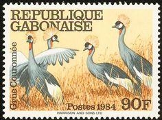 Stamp: Grey Crowned Crane(Balearica regulorum) (Gabon) (Birds) Mi:GA 924,Sn:GA 577,Yt:GA 574