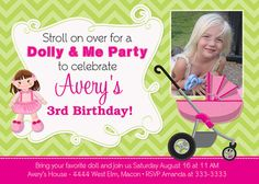Baby Doll Dolly and Me Stroller Party Birthday by PartyPopInvites, $17.00