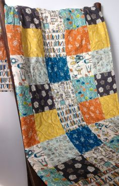 Baby Quilt Robotic Organic Birch Fabric The Library by CoolSpool, $110.00