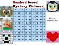 Winter Hundred Board - Hundred Board Mystery Pictures for Jan and Feb months.  .  A GIVEAWAY promotion for Hundred Board - Winter from Teacher Helper on TeachersNotebook.com (ends on 1-22-2014)