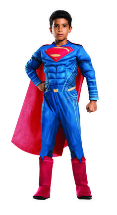 Kids Superman Deluxe Dawn of Justice Costume - Enter the Dawn of Justice with this deluxe Superman costume, officially licensed from the Batman V Superman movie. It comes with a great one piece, muscle chest jumpsuit with attached 3D boot tops and a detachable cape. Head into the next battle with Batman and dress up for Halloween or play time. #YYC #Calgary #costume #Superman #SupermanVBatman #DawnOfJustice