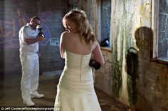 Games: Another bride staged a paintball contest between herself and her husband, in an abandoned building.