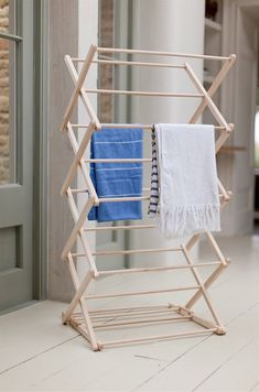 Buy The Wooden Clothes Horse by Garden Trading Online UK. Contemporary Designer Clothes Horse from Garden Trading's Wooden Collection. Modern Garden Trading Wooden Clothes Horse Made From Beech Wood. Wooden Clothes Drying Rack, Pipe Clothes Rack, Clothes Dryer, Clothes Line, Clothes Horse, What A Nice Day, No Closet Solutions, Diy Pipe, Horse Crafts