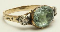 Georgian Aquamarine & Rose Diamond Ring Circa 1800's