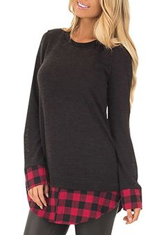 29a6f1676eeb52 Womens Tunic Tops Plaid Hem Crew Neck Casual Long Sleeve T-Shirt Blouse