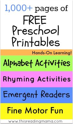 pages of FREE Preschool Printables ~ Hands-On Learning for the Alphabet, Rhyming, Emergent Readers, Fine Motor and MORE! This Reading Mama Preschool Education, Free Preschool, Preschool Printables, Preschool Lessons, Preschool Kindergarten, Preschool Learning, Preschool Activities, Teaching, Free Alphabet Printables