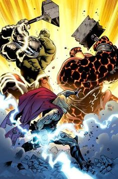 Fear Itself - Thor vs The Thing and the Hulk by Stuart Immonen Comic Book Characters, Marvel Characters, Comic Character, Comic Books Art, Illustration Comic, Illustrations, Marvel Comics, Marvel Heroes, Asgard