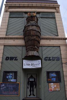 The remarkable Owl Club, Salmon, Idaho. Leftover Londoner is on holiday. Live Music, Idaho, Signage, Owl, London, Owls, Billboard, Signs, London England