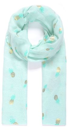 JennGifts - Pineapple Print Sky Blue Foil Scarf, £10.00 (http://jenngifts.co.uk/pineapple-print-sky-blue-foil-scarf/)