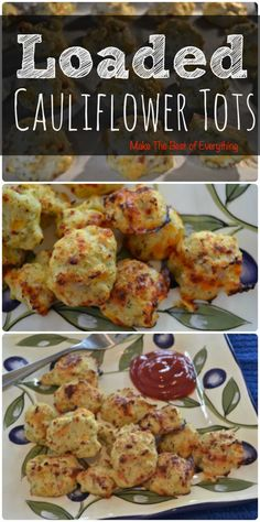 Loaded Cauliflower Tots >>> Very good, would definitely make again! I used 2 strips of pan fried bacon, scallions, some herbs, and a little cheese. It was sort of unknown how long to saute the cauliflower. I think the purpose is to get some of the water out, so let the steam keep coming off for awhile. 4x more bacon was too rich, but 5-6 slices was perfect. Made without eggs once, worked okay - used a second cheese (nice stringy mozzarella) and a bit of bacon grease. Still tasty!