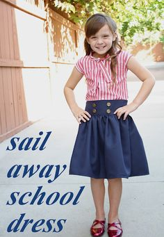 Adorable School Dress Tutorial by At Second Street, re uses men's shirt. LOVE!!