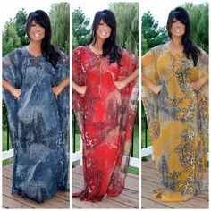 Boho '60'S S M L Xl 1X 2X 3X Chiffon Animal Printed Maxi Kaftan Dress Cover Up