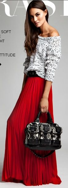 A great way to rock two major trends for spring (and you can easily transition them to wear now!) a cute and easy polka dot top belted with a punch colored maxi skirt. Loving this look!