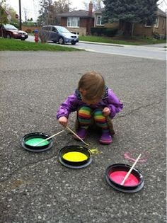 Driveway paint.  Made with cornstarch, water and tempera paint.  Super easy and tons of fun!