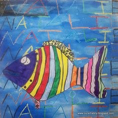 Paul Klee fish. For this project, we used 12x12 white paper and folded it 3 times to make an invisible set of lines on our papers. On this, the kids wrote their names in crayons OVER and OVER and OVER. Then they chose one color of watercolor paint to paint on top. The fish were painted with marker on a seperate sheet of paper, glued on, and sequins added