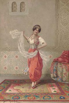 The Oriental Dancer. Francesco Ballesio (Italian, Pencil, watercolor and gouache on paper. The artist has demonstrated his strength at depicting textures and grandeur, by successfully transporting the viewer into a scene of beauty. Dance Oriental, Spanish Gypsy, Gypsy Girls, Turkish Art, Italian Painters, Arabian Nights, Indian Paintings, Renoir, Larp