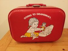 GOING TO GRANDMAs 1970s Red Luggage Travel Bag Childs Childrens Kids Suitcase Hard Shell Overnight Weekend on Etsy, $28.00